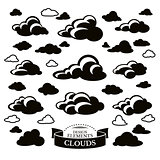 Collection of different cloud icons