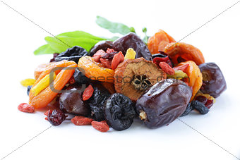 Assorted dried fruits (raisins, apricots, figs, prunes, goji, cranberries)