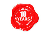 Ten years warranty seal