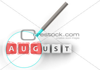 August puzzle with magnifying glass