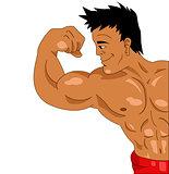 Bodybuilder on a white background