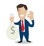 Businessman hands holding money bag