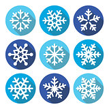 Snowflakes, Christmas flat design round icons