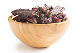 beef jerky in wooden bowl