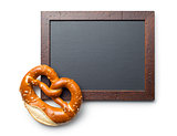 baked pretzel and chalkboard