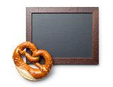 baked pretzel and chalkboard