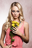 commercial shot of spring girl with flower