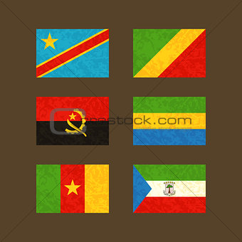 Flags of Congo, Angola, Cameroon, Gabon and Equatorial Guinea