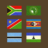 Flags of South Africa, African Union, Namibia, Swaziland, Botswana and Lesotho