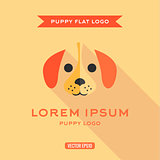 Dog, puppies, style flat, with low Shadow, vector illustration, logo