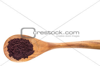 acai berry powder on wooden spoon