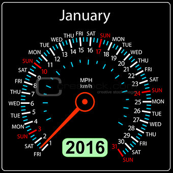 2016 year calendar speedometer car. January. Vector illustration