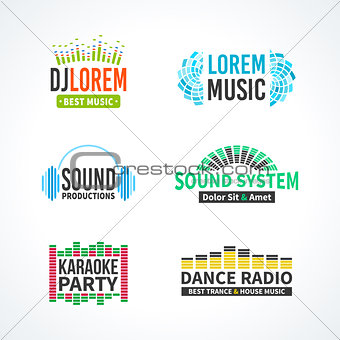 Fourth set of dj music equalizer logo vector