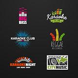 Fifth set music equalizer emblem vector on dark background