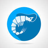 Shrimp flat round vector icon