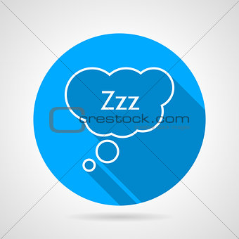 Sleep bubble flat round vector icon