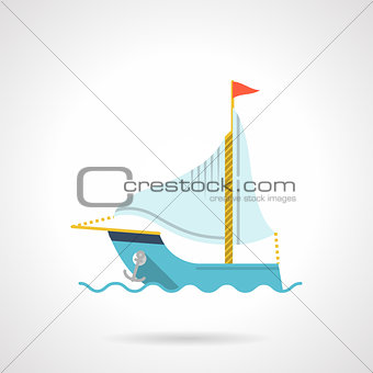 Flat vector icon for sailboat