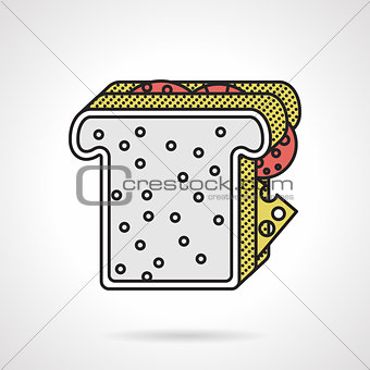 Flat vector icon for toast sandwich
