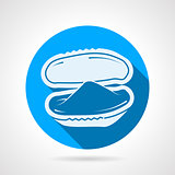 Bivalve oyster flat round vector icon
