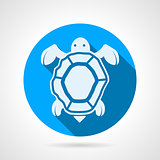 Sea turtle flat round vector icon