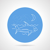 Shark in sea round vector icon