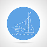 Round vector icon for sailboat