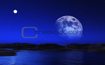 Alien landscape with moon