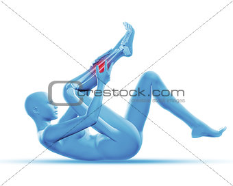 3D female figure holding leg in pain