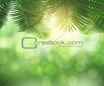 3D fern leaves and sunlight