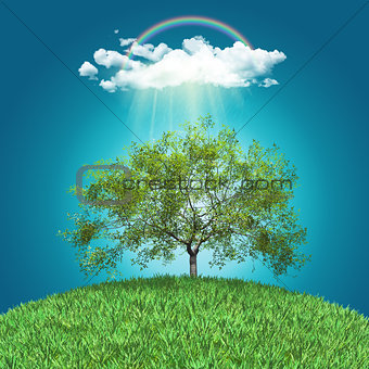 3D render of a grassy globe with a walnut tree, rainbow and rain