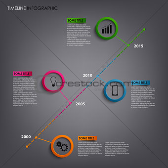 Time line info graphic with round pointers template