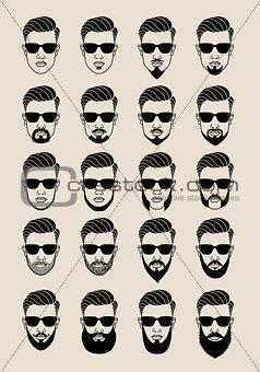 faces with beard, user, avatar, vector icon set