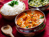 Butter chicken and Saag Paneer Indian dinner