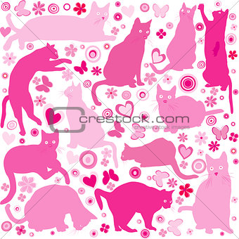 Baby girls background with cats
