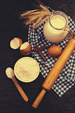 baking background with rolling pin