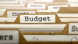 Budget Concept  on Folder Register.