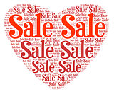 Red heart word shape for retail events on white background