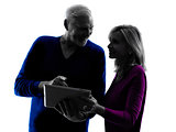 couple senior digital tablet computer silhouette