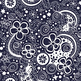 vector seamless black and white floral pattern