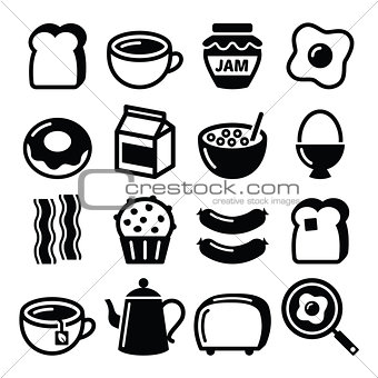 Breakfast food vector icons set - toast, eggs, bacon, coffee