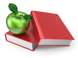 Books with green apple education learning concept