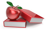 Books and apple red education symbol