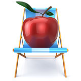 Apple sitting in beach chair summer vegetarion nutrition
