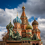 Saint Basil Church and Minin and Pozharsky Monument in Moscow, R