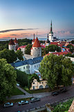 Aerial View of Tallinn Old Town from Toompea Hill in the Evening