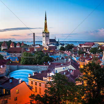 Aerial View of Tallinn Old Town in the Evening, Tallinn, Estonia