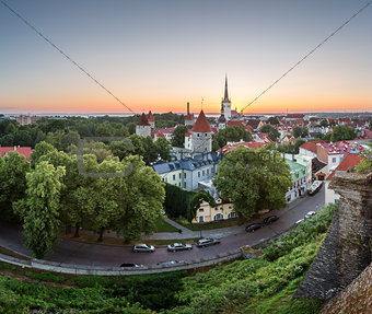 Aerial View of Tallinn Old Town from Toompea Hill at Dawn, Talli