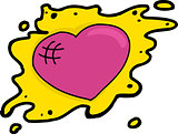 Pink Heart in Yellow Blob