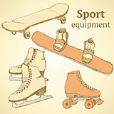 Sketch sport equipment in vintage style