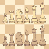Sketch chess figurel in vintage style
